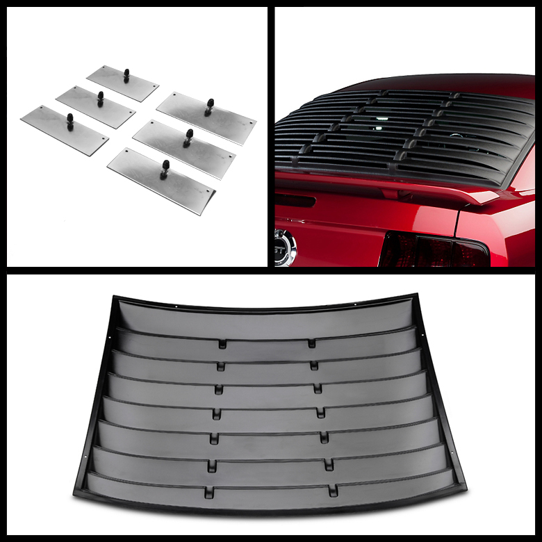 05 12 ford mustang vintage black rear window louver sun for 05 mustang rear window louvers