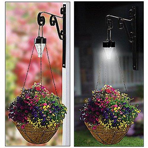Hanging Flower Baskets With Lights : Solar hanging plant basket kit outdoor mount garden