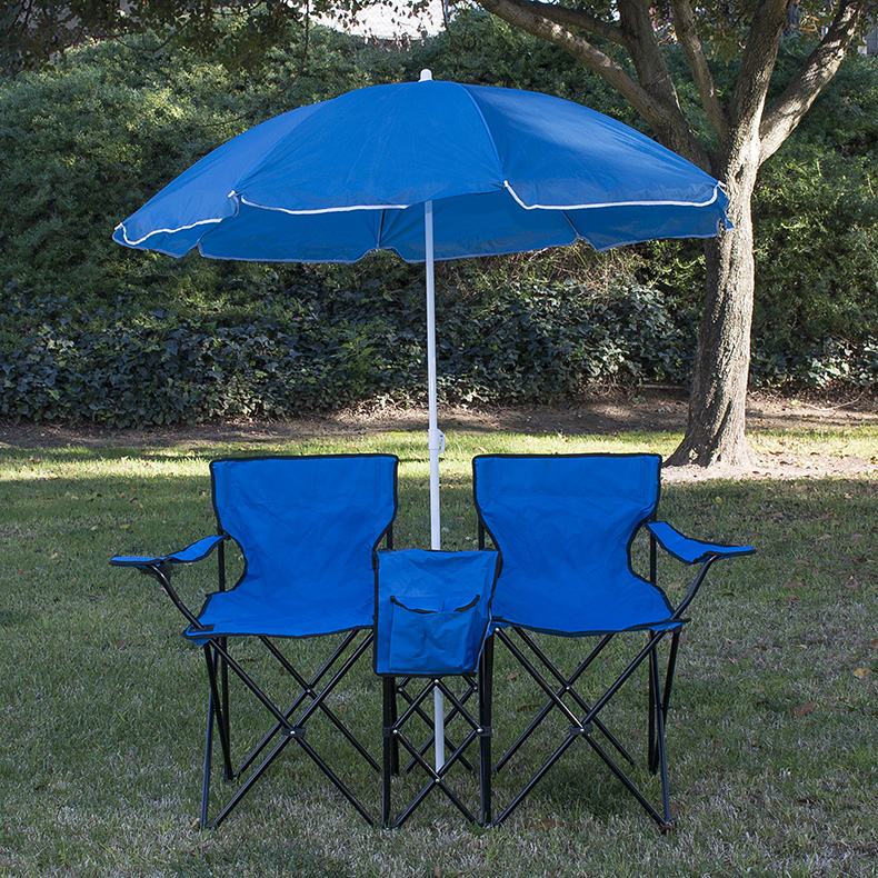 Double Folding Beach Camping Chairs w Umbrella Drink Food Cooler Park Picnic
