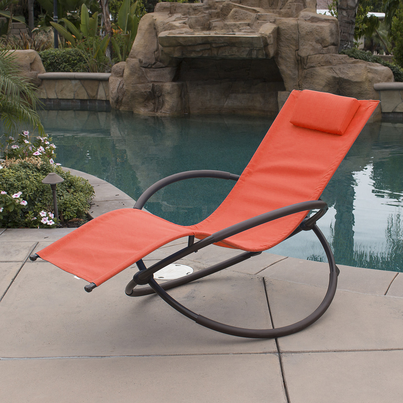 Orbital foldable zero gravity lounger chair rocking for Chaise zero gravite