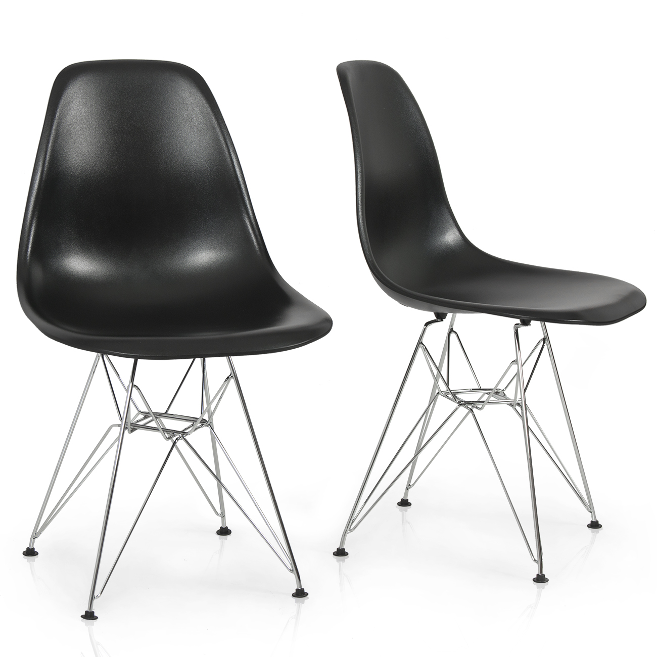 Modern plastic chairs - 2x Style Dsw Side Chair Molded Abs Plastic Chairs Wire Base Black