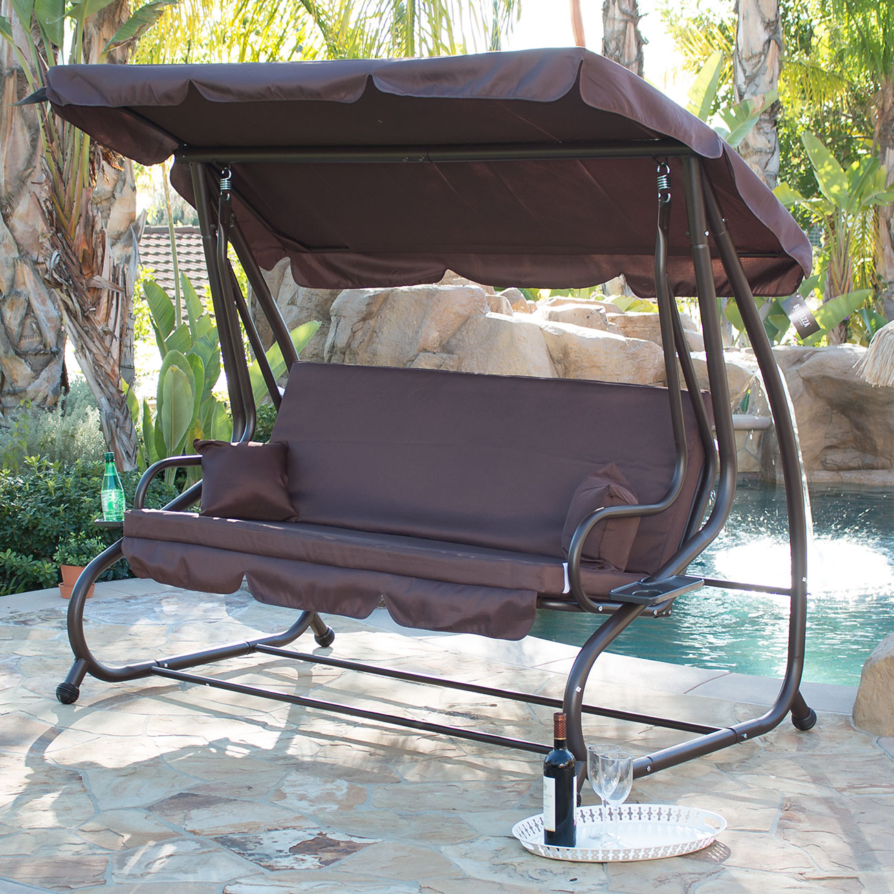Outdoor Swing Bed Patio Adjustable Canopy Deck Porch Seat Chair w 2 Pillow