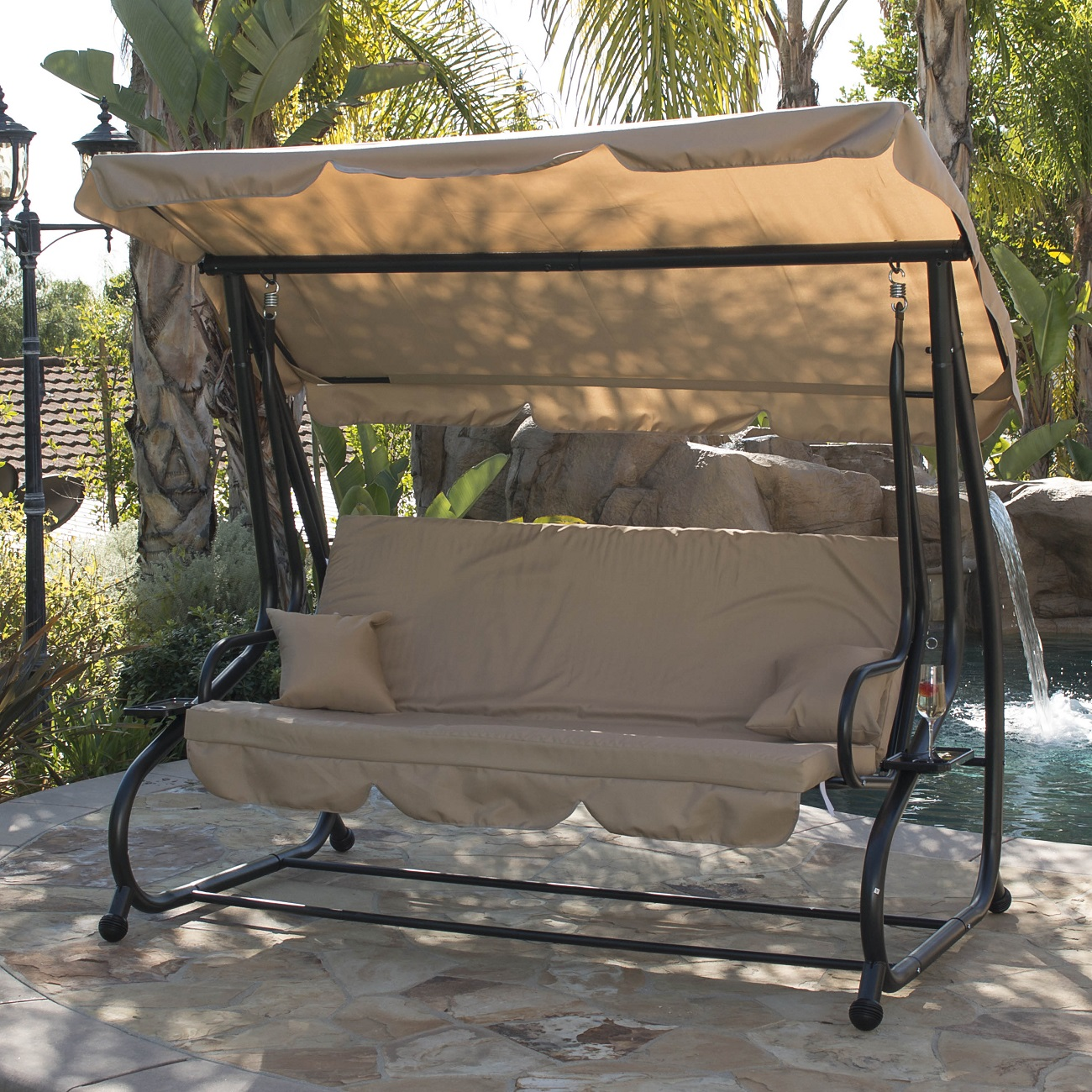 outdoor swing bed patio adjustable canopy deck porch seat chair w 2 pillow ebay. Black Bedroom Furniture Sets. Home Design Ideas