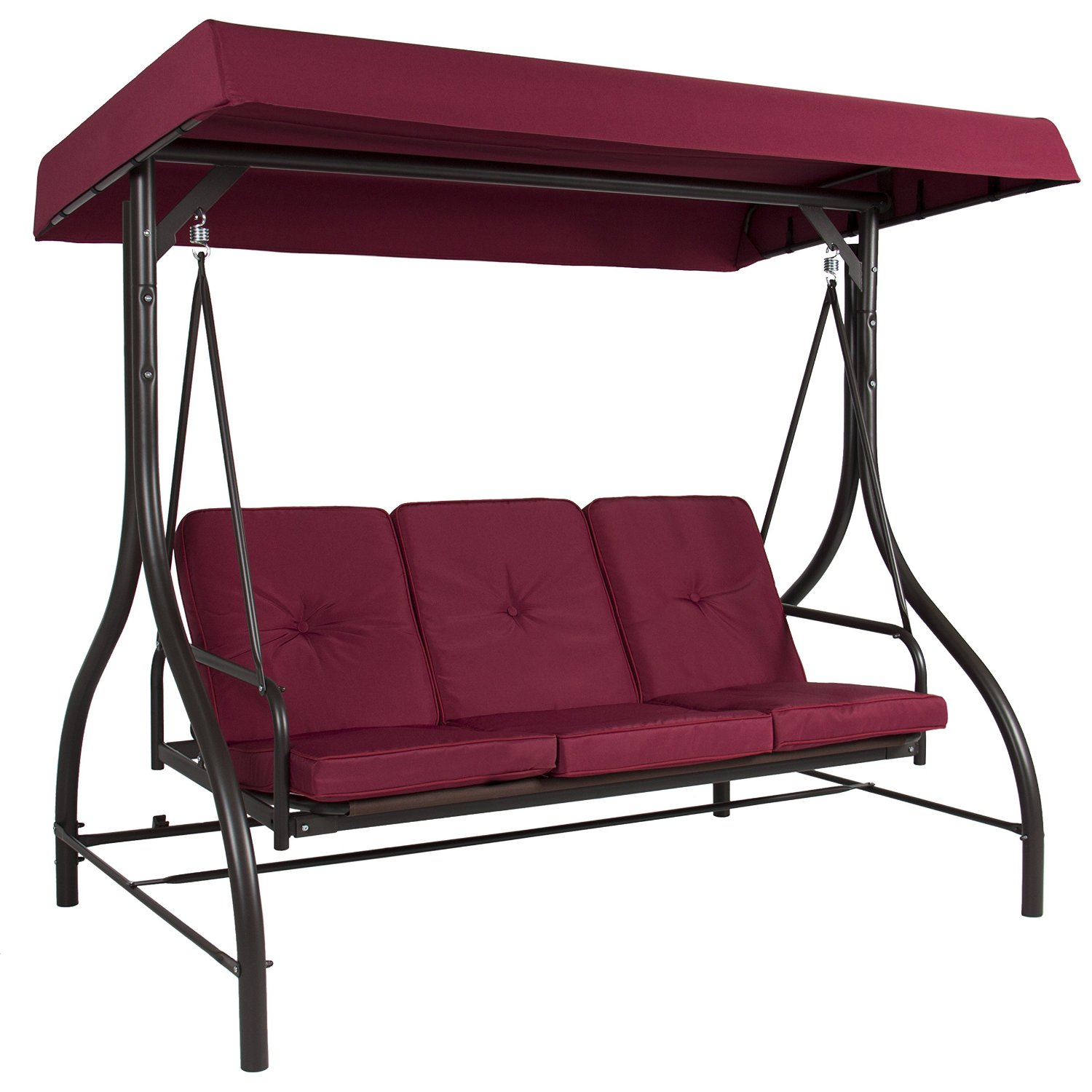 Outdoor Patio Swing Porch Bed Laydown Canopy Seat 3 Person Outdoor Yard  Burgundy