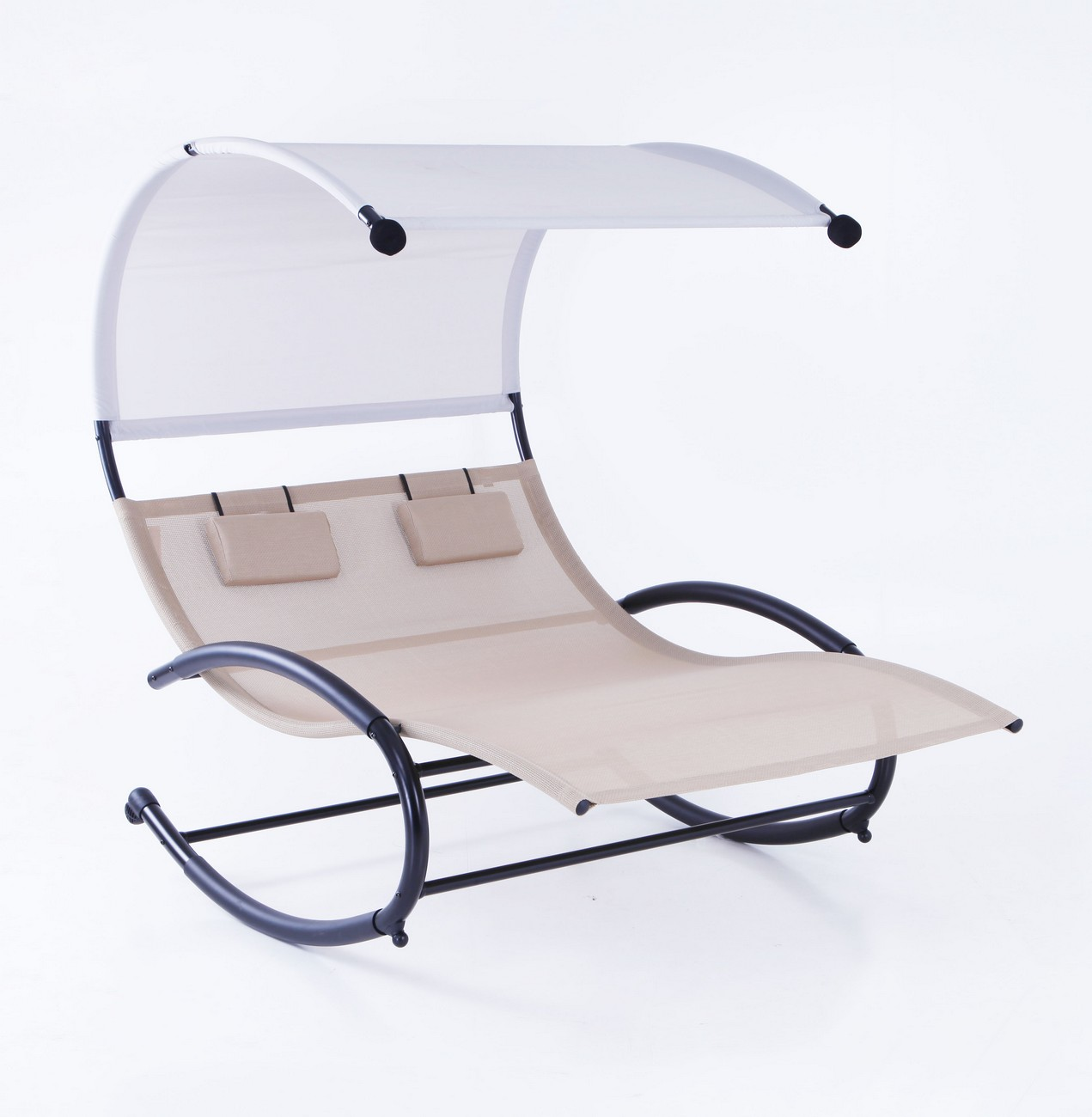 2 Person Chaise Rocker Patio Furniture Lounger Chair Bed
