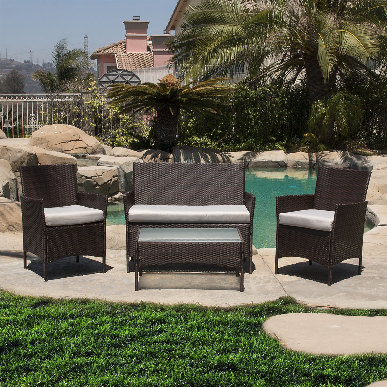 4 pc rattan furniture set outdoor patio garden sectional for Outdoor furniture wicker