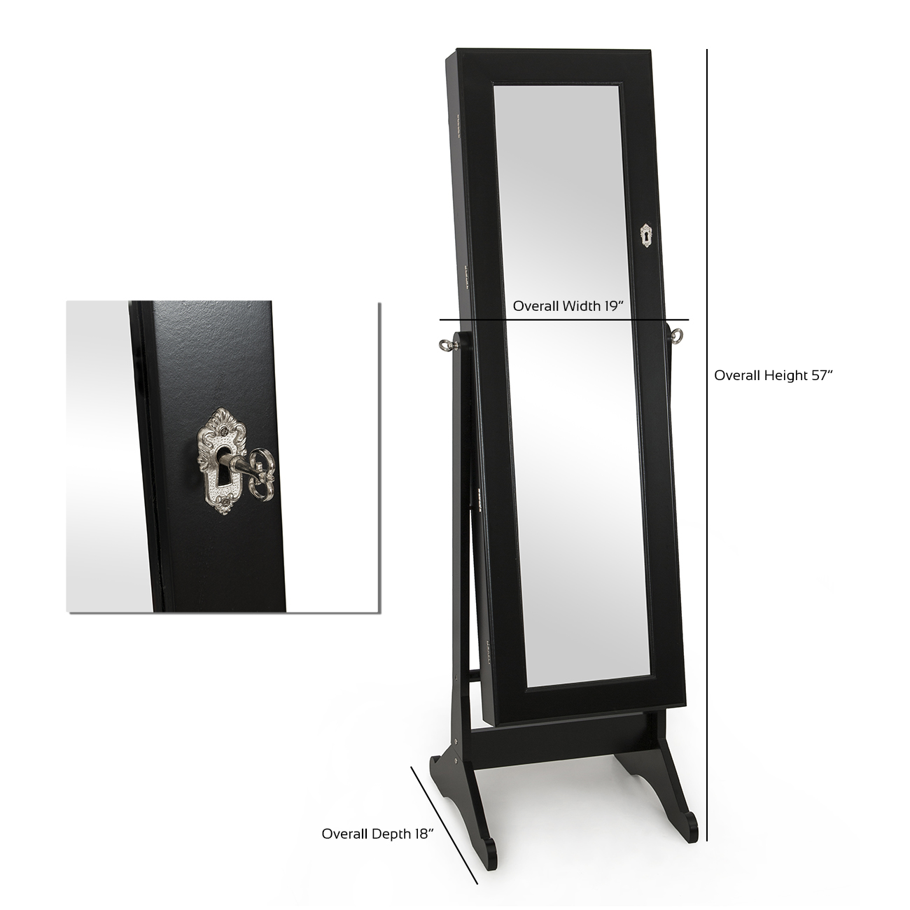 Mirrored jewelry cabinet amoire storage box w stand mirror for Mirror stand