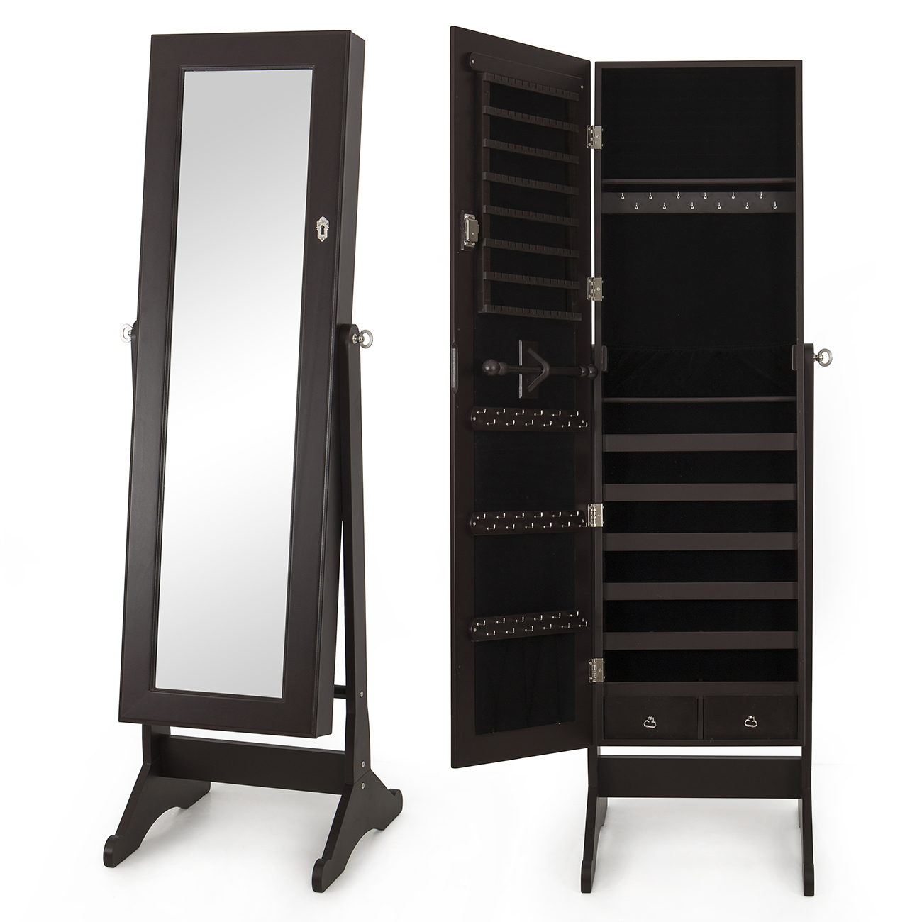 mirrored jewelry cabinet amoire storage box w stand mirror necklaces bracelets ebay. Black Bedroom Furniture Sets. Home Design Ideas