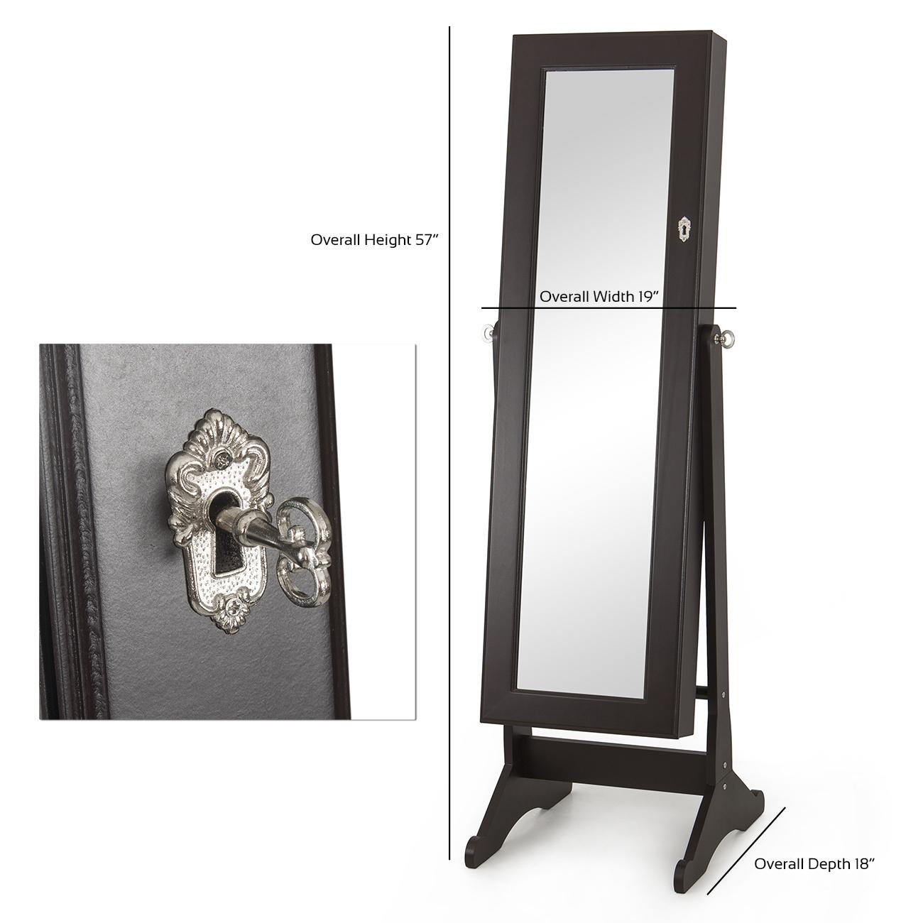 Mirrored Jewelry Cabinet Amoire Storage Box w Stand Mirror Necklaces Bracelets