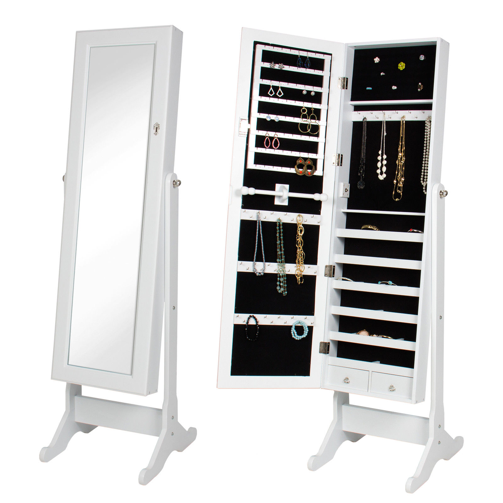Mirrored Jewelry Cabinet Armoire Mirrored Jewelry Cabinet Amoire Storage Box W Stand Mirror
