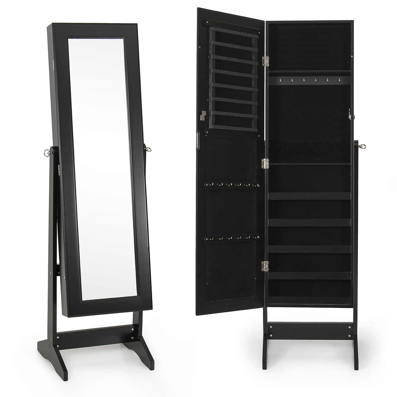 New Mirrored Jewelry Cabinet Mirror W Stand Organizer