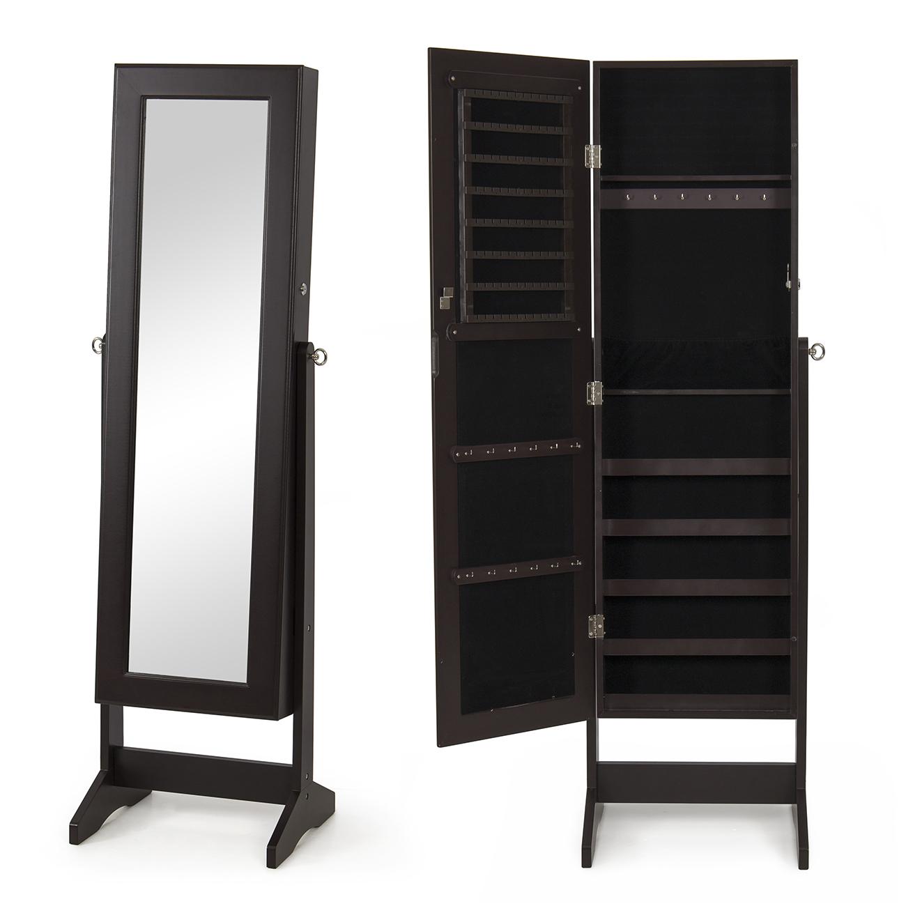 New Mirrored Jewelry Cabinet Mirror W Stand Organizer