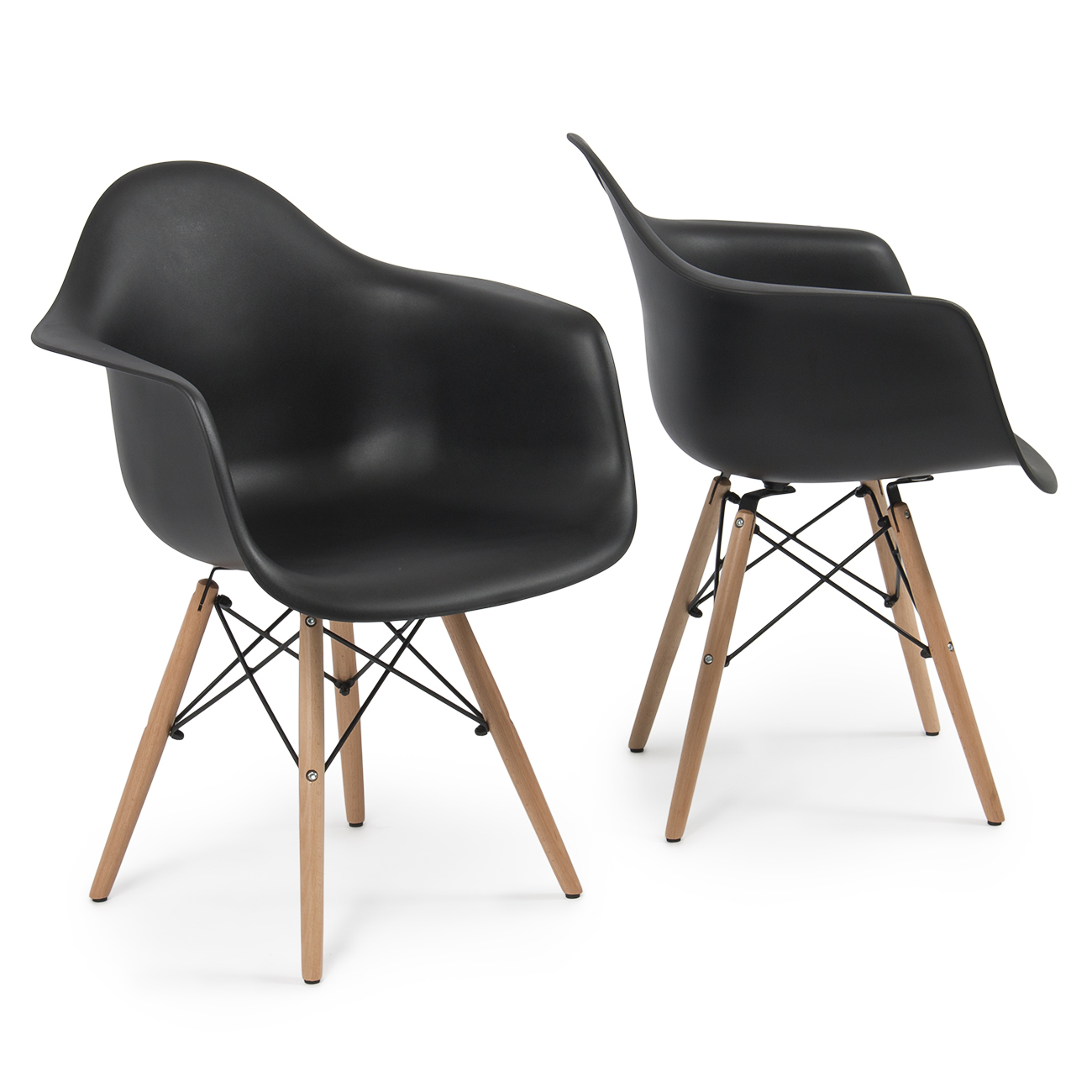 Set of 2 eames dsw style arm chair armchair legs mid for Mid century modern style chairs