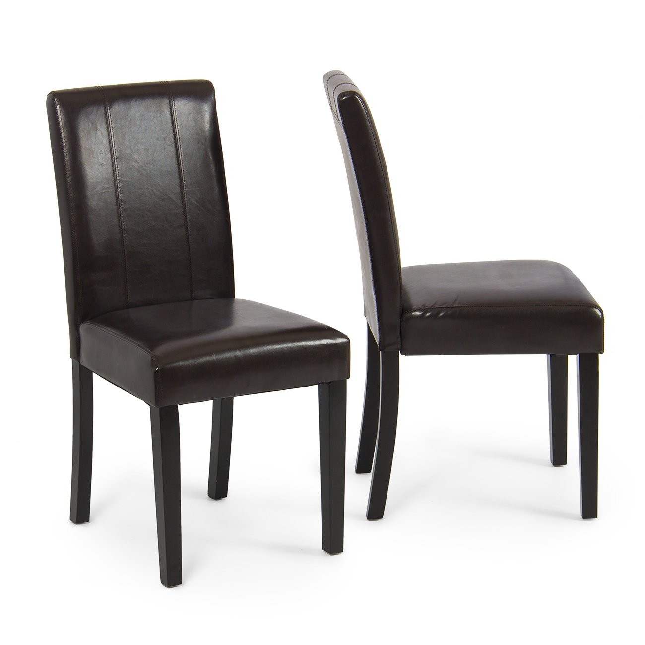 Elegant modern parsons chair leather dining living room for Leather parsons dining chair