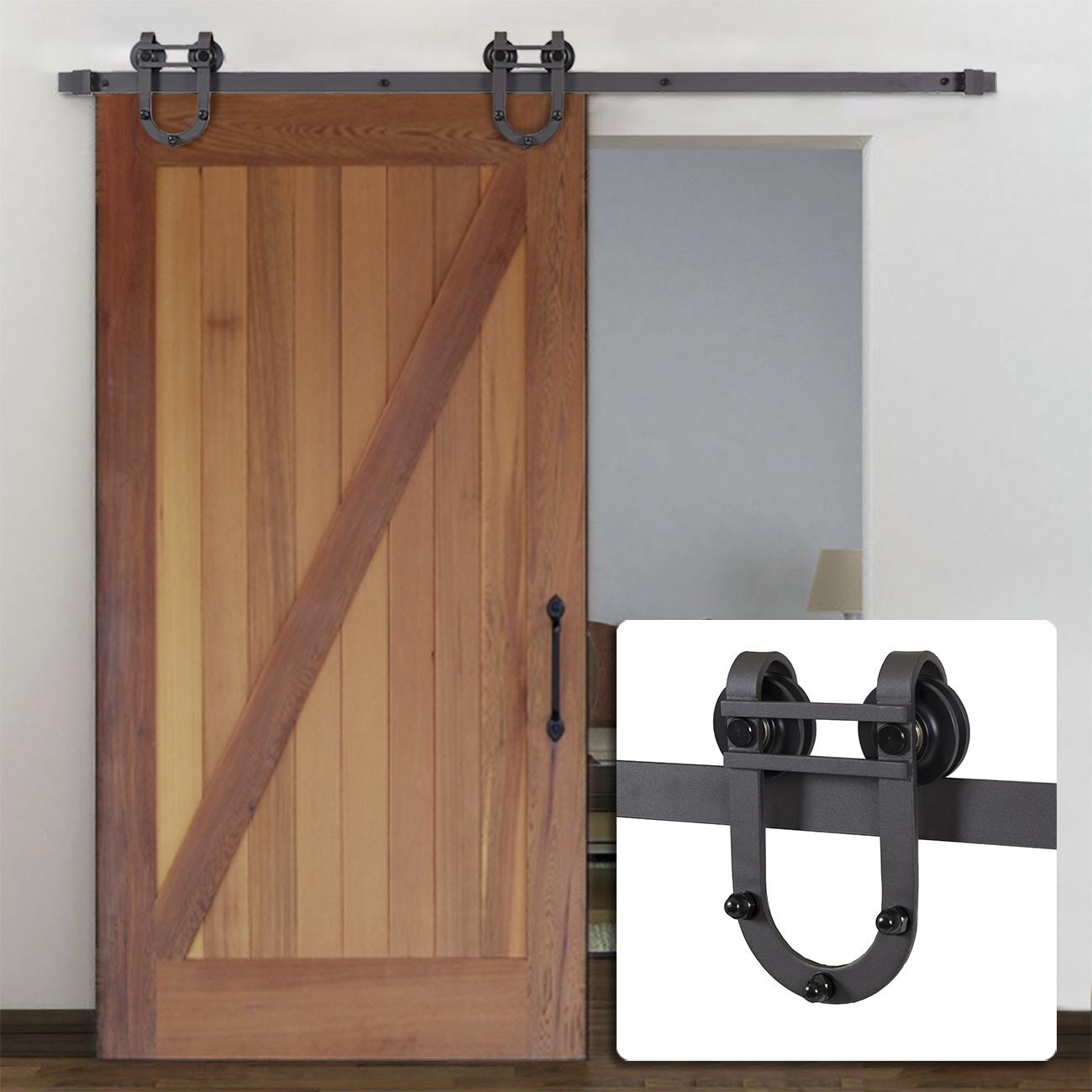 6ft Antique Horseshoe Steel Sliding Barn Door Closet Hardware Dark