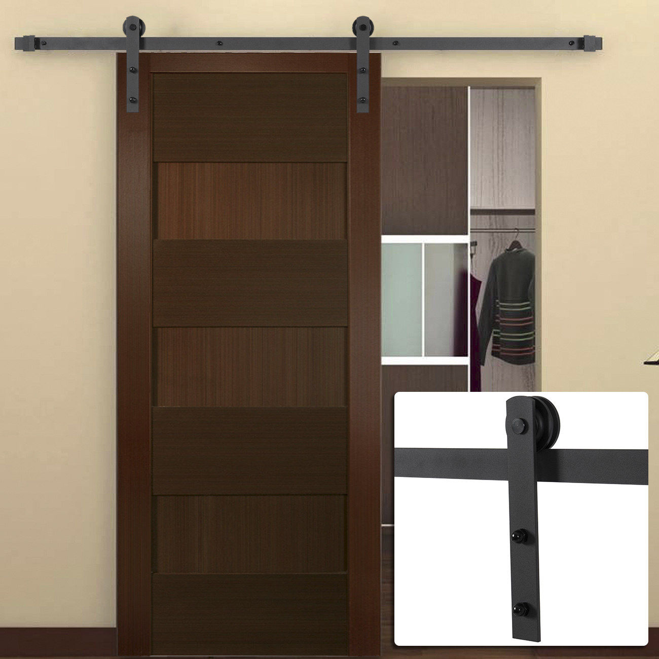6ft antique country style steel sliding barn door closet hardware frosted black ebay. Black Bedroom Furniture Sets. Home Design Ideas