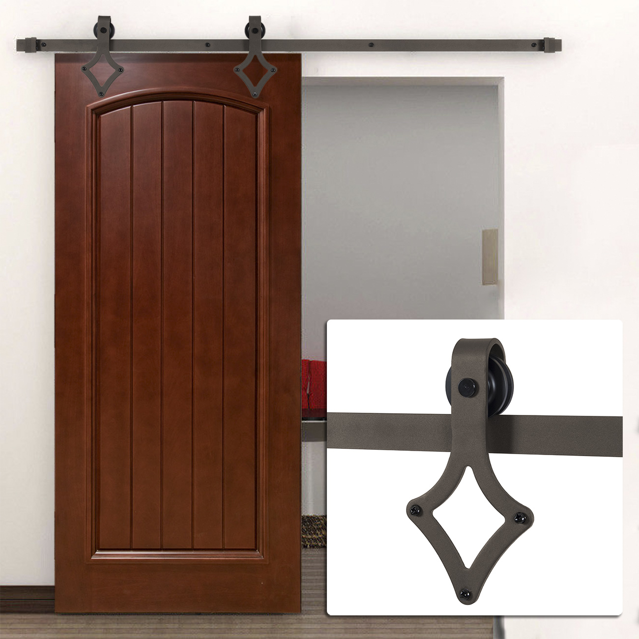 carbon steel interior sliding barn wood entry door ft double sliding barn door. Black Bedroom Furniture Sets. Home Design Ideas