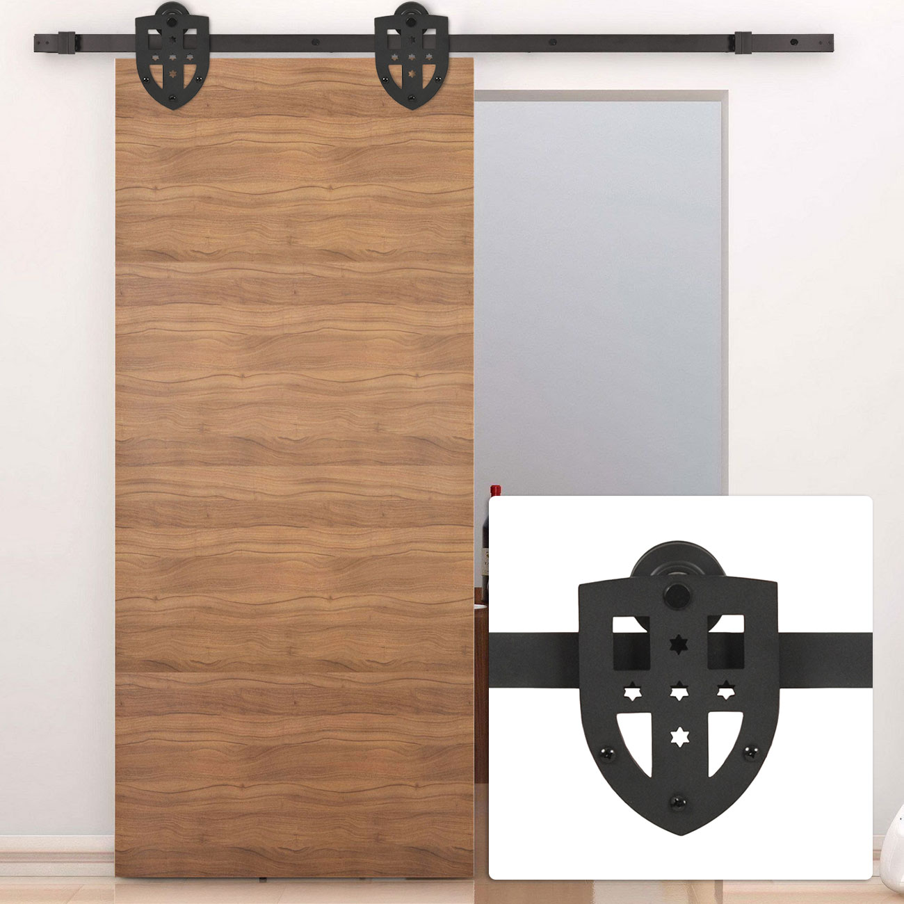 New 6ft Sliding Slide Barn Door Hardware Only Kit Interior Modern Cross Style Ebay