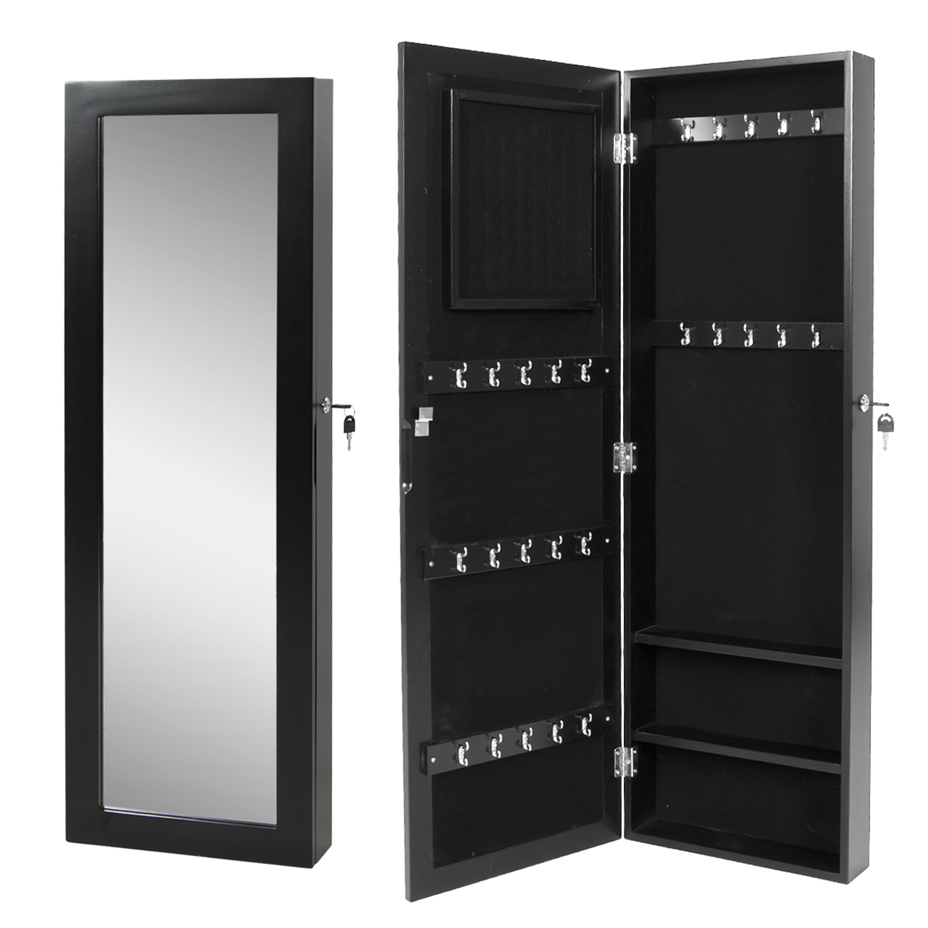mirrored jewelry cabinet armoire wall mount organizer storage case with key set ebay. Black Bedroom Furniture Sets. Home Design Ideas