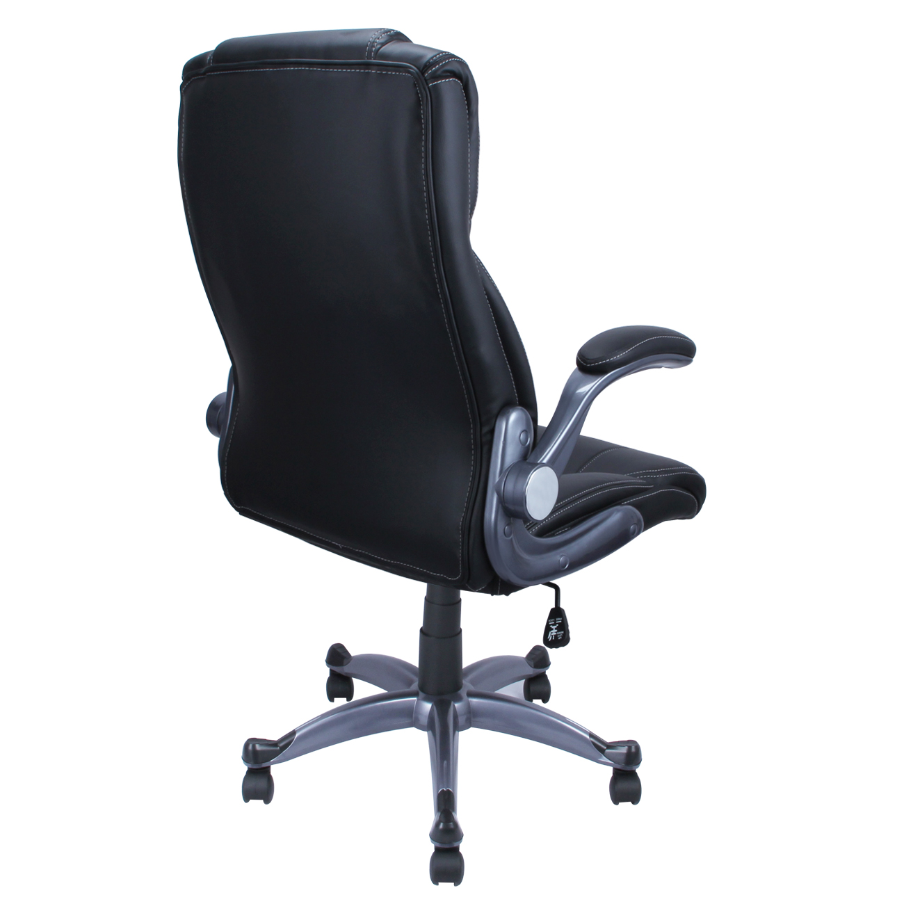 Pu leather black modern ergonomic executive computer desk for Modern leather office chairs