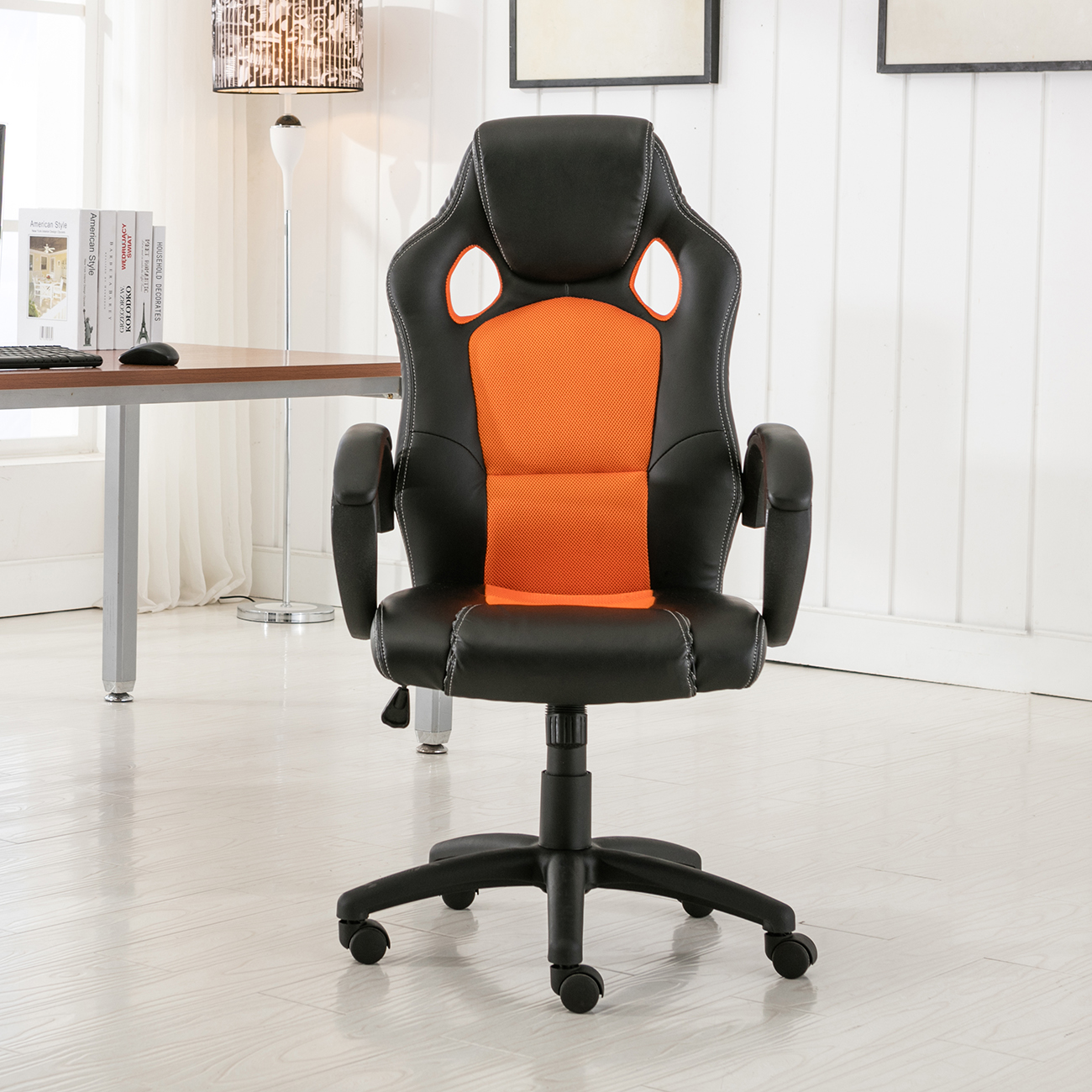High back race car style bucket seat office desk chair for New style chair
