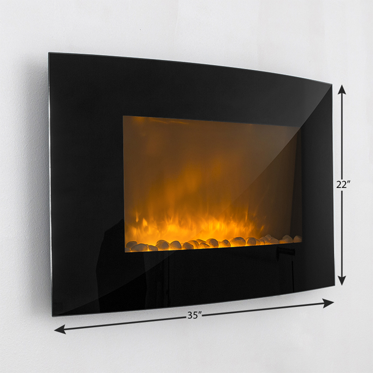 large 1500w heat adjustable electric wall mount fireplace