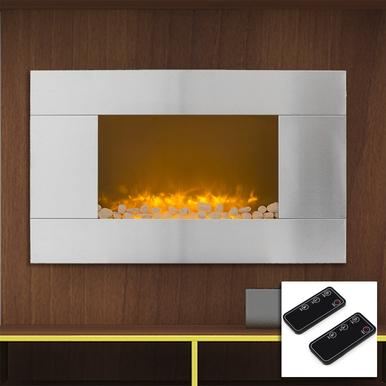 36 Stainless Steel 1500w Electric Fireplace Heater Real Stone 3d Flame Effect Ebay