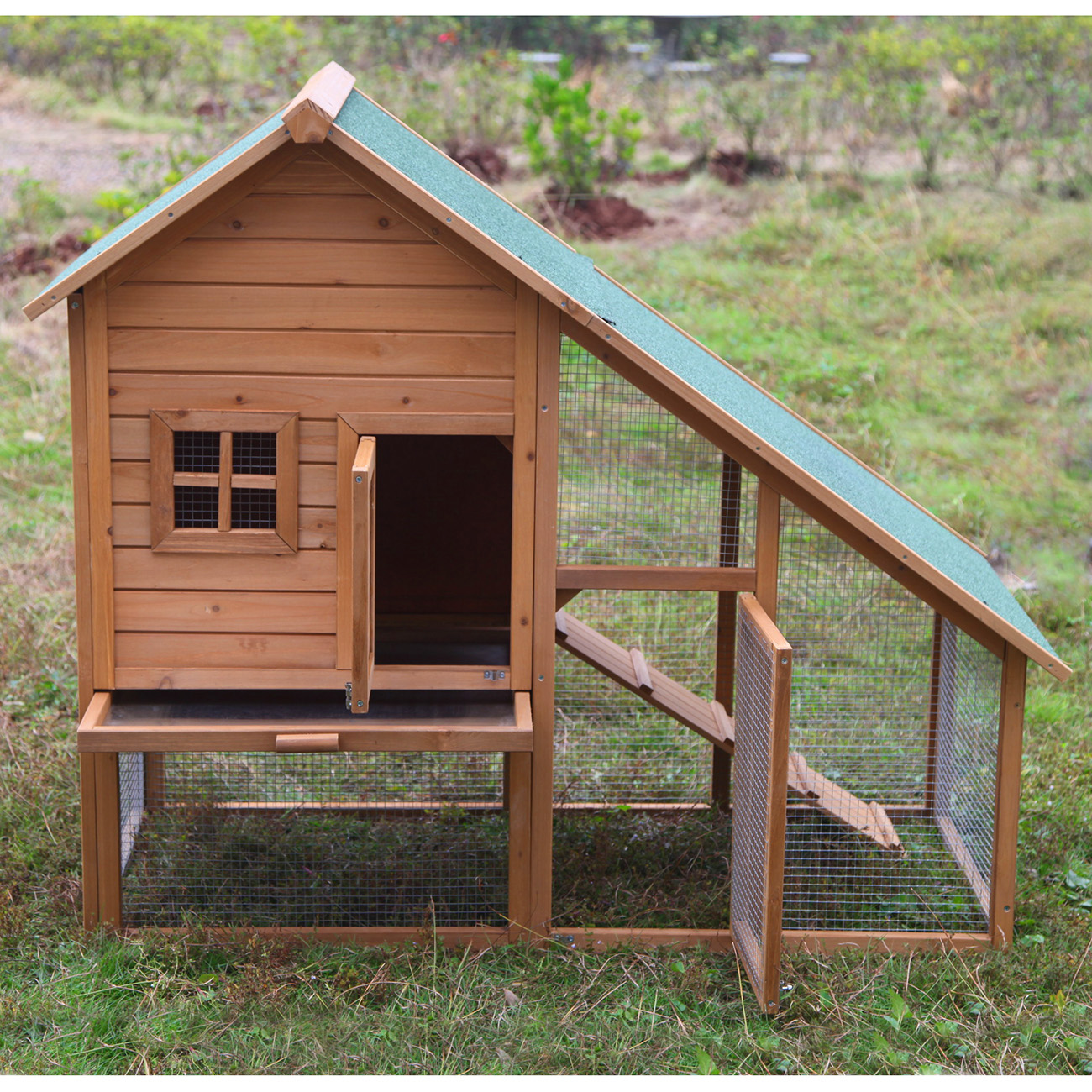 55 portable wooden rabbit hutch deluxe hen house chicken for Small portable chicken coop