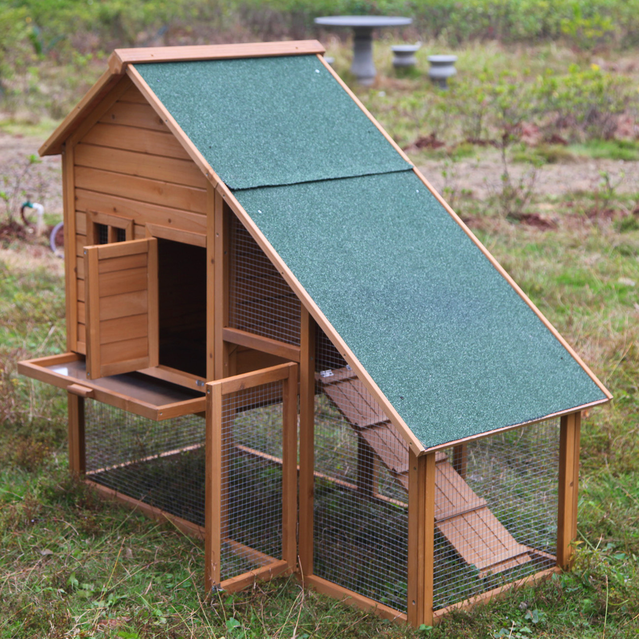 55 portable wooden rabbit hutch deluxe hen house chicken for Portable wooden house
