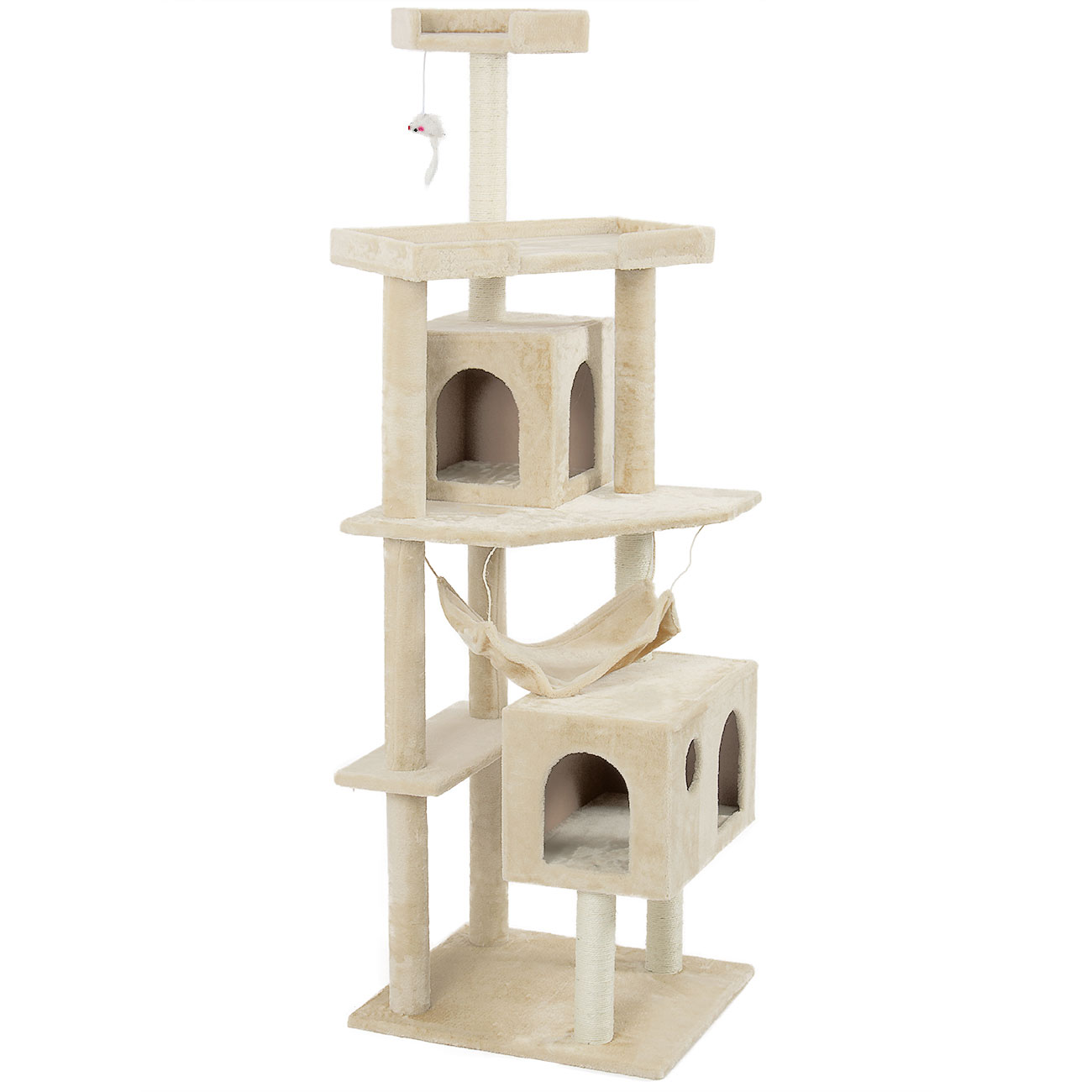 71 inch cat tree tower condo furniture scratch post w for Cat tower with hammock