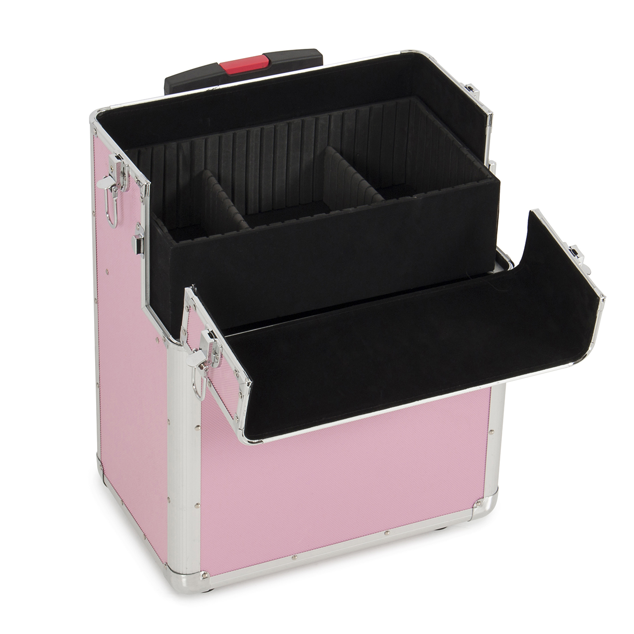 In Aluminum Rolling Makeup Artist Cosmetic Train Case Lockable - Aluminum trolley case pro rolling makeup cosmetic organizer