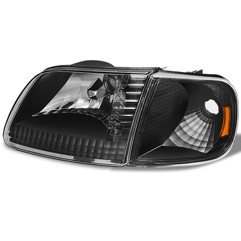 For 97 03 F150 04 Heritage Black Headlights Set Tail