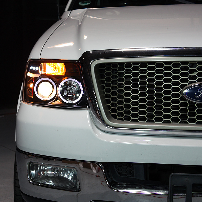 Ford F150 Light Bar >> For 04-08 F150 Black Smoked Halo Projector Headlights + Smoked LED Tail Lights
