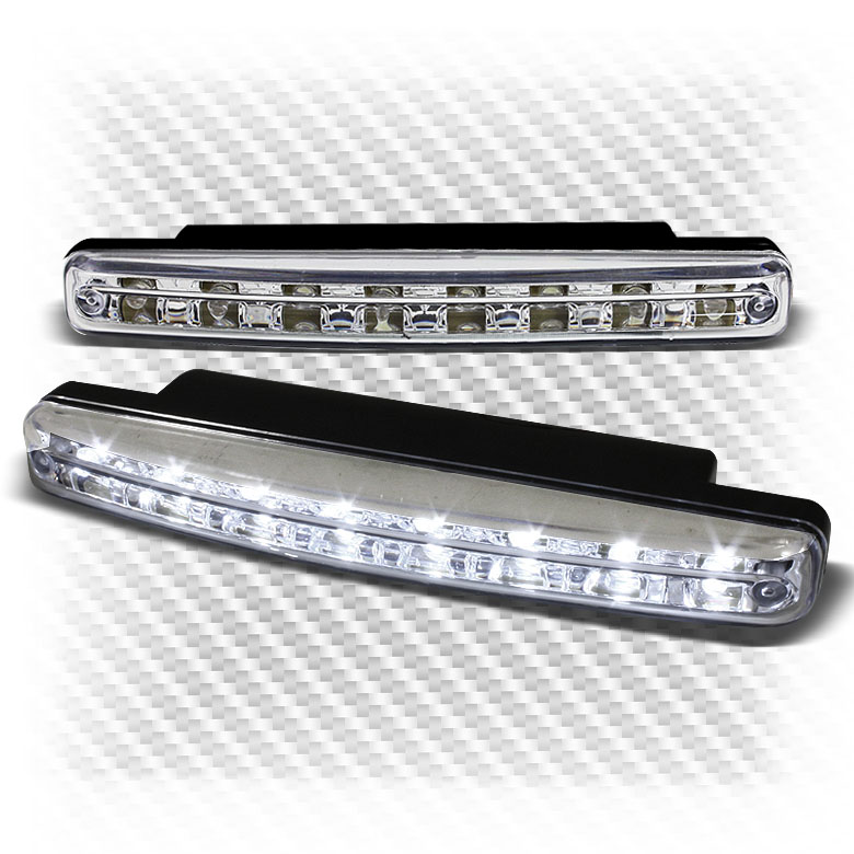 bright white 8 led clear daytime running drl bumper lights fog lights. Black Bedroom Furniture Sets. Home Design Ideas