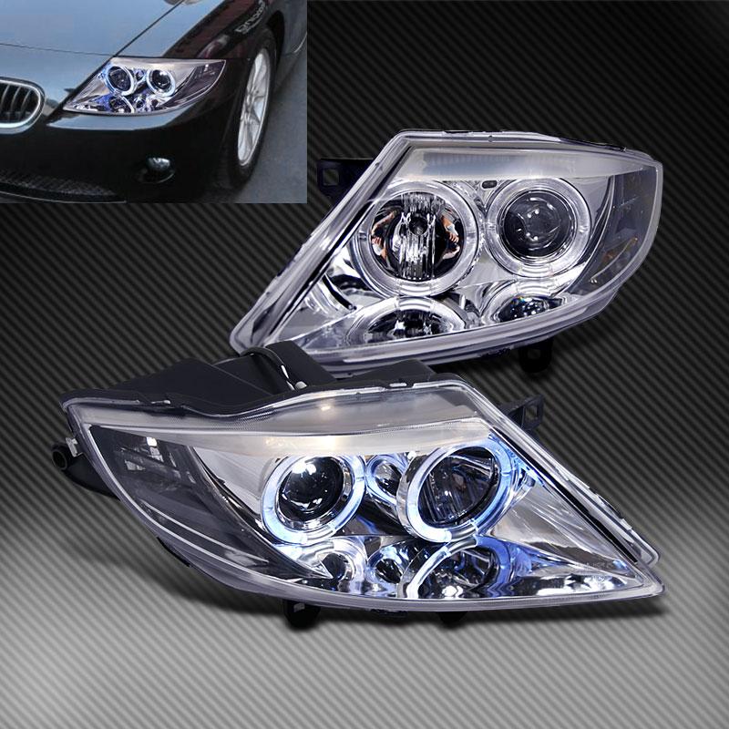Bmw Z4 Xenon Headlights: Fits 03-08 BMW Z4 2x Angel Eyes BLK Halo Projector