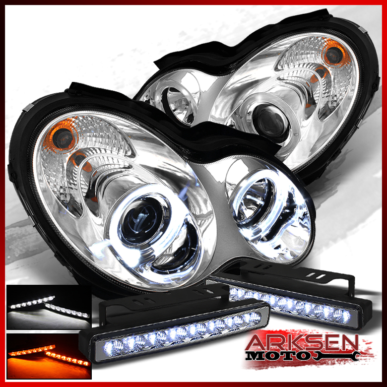 Fits w amber led fog 01 05 mercedes benz w203 c class halo for Mercedes benz projector lights