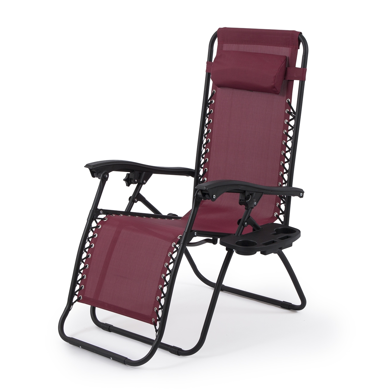 2 Set Burgundy Chair Zero Gravity Folding Lounge Recliner Patio Pool w Tray