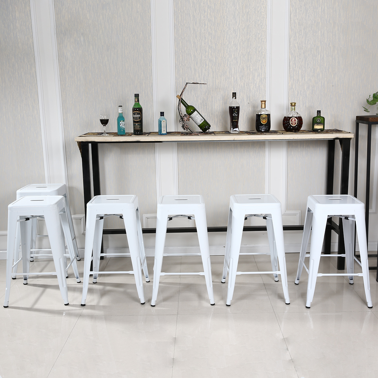 Metal Bar Stools Set Of 6 Vintage Antique Style Counter