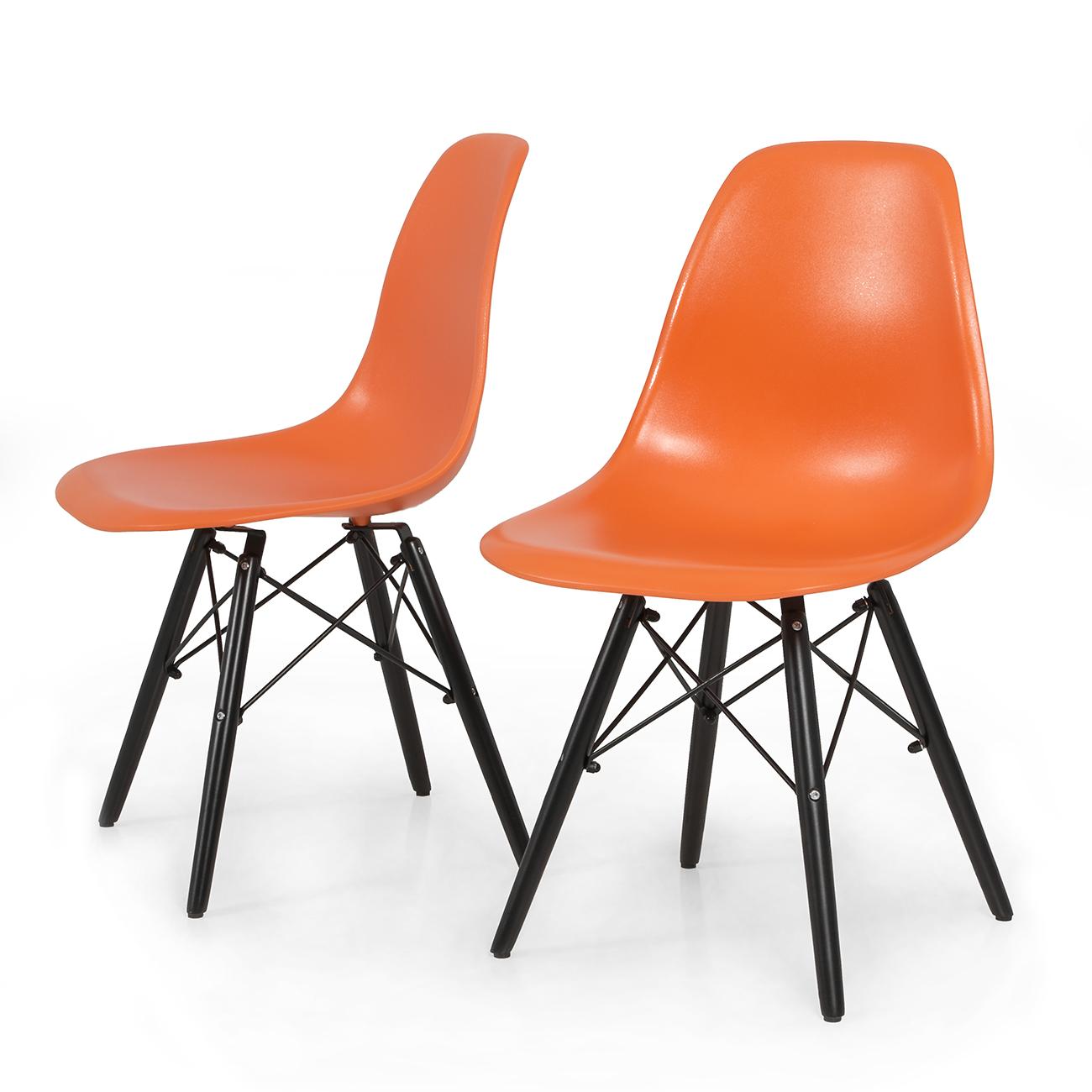 2x dsw molded abs plastic side chair eiffel dowel wood leg for Eames dowel leg side chair