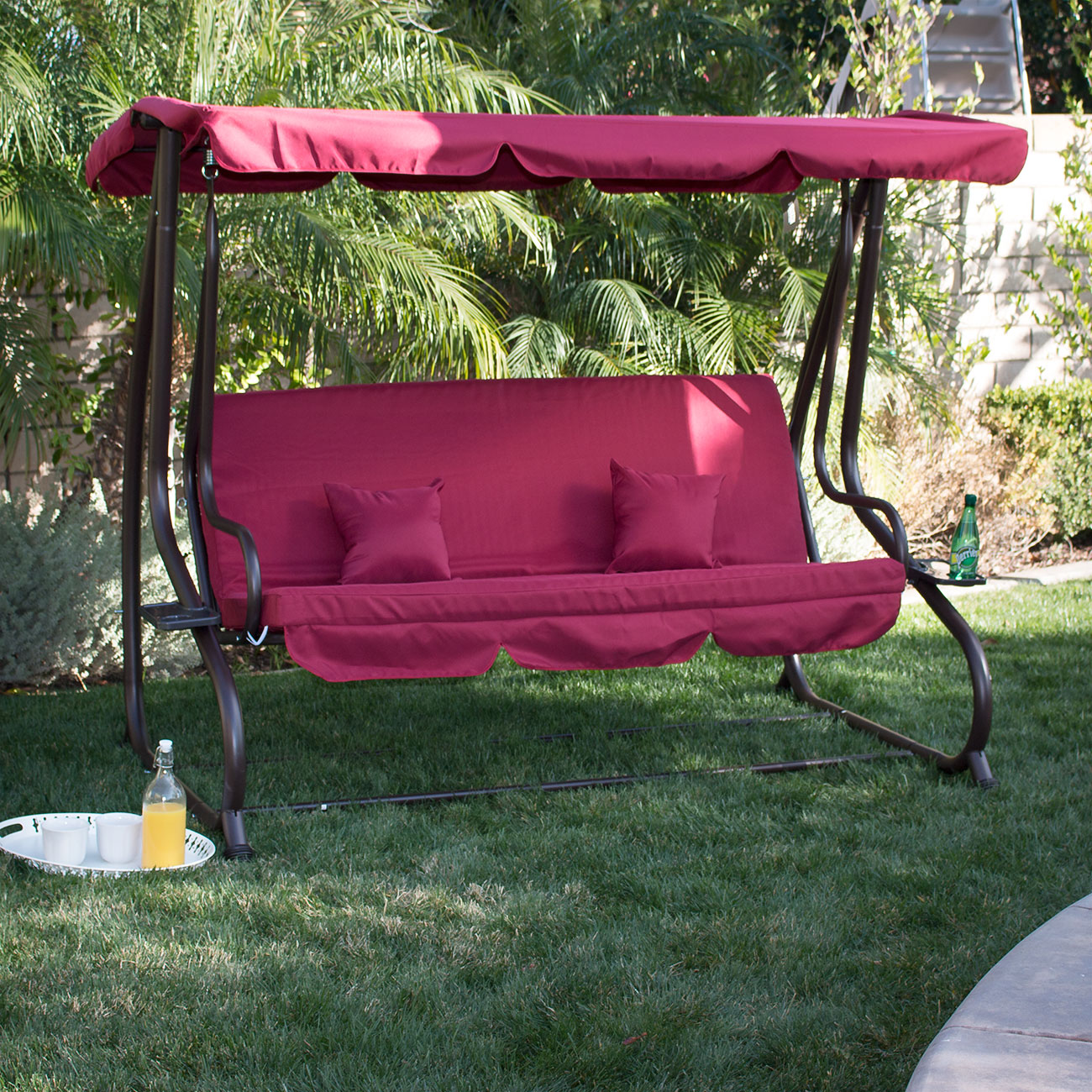 3 person outdoor swing w canopy seat patio hammock furniture bench yard loveseat ebay - Garden furniture swing seats ...