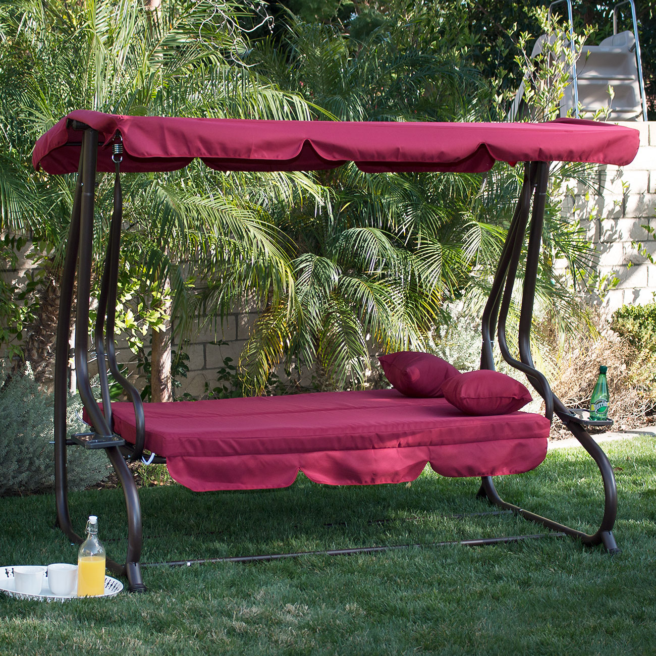 3 person outdoor swing w canopy seat patio hammock