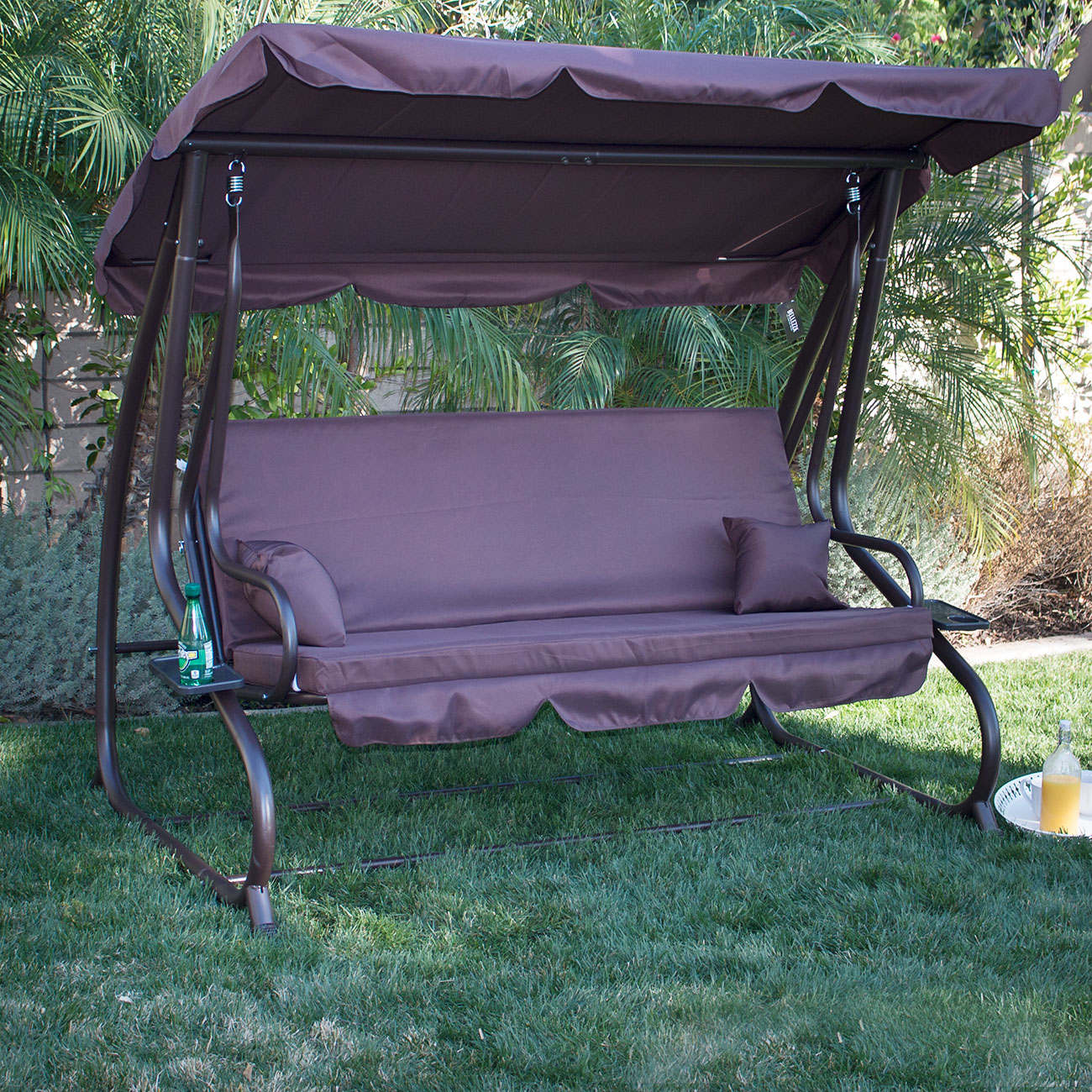 3 person outdoor swing w canopy seat patio hammock furniture bench yard loveseat ebay. Black Bedroom Furniture Sets. Home Design Ideas