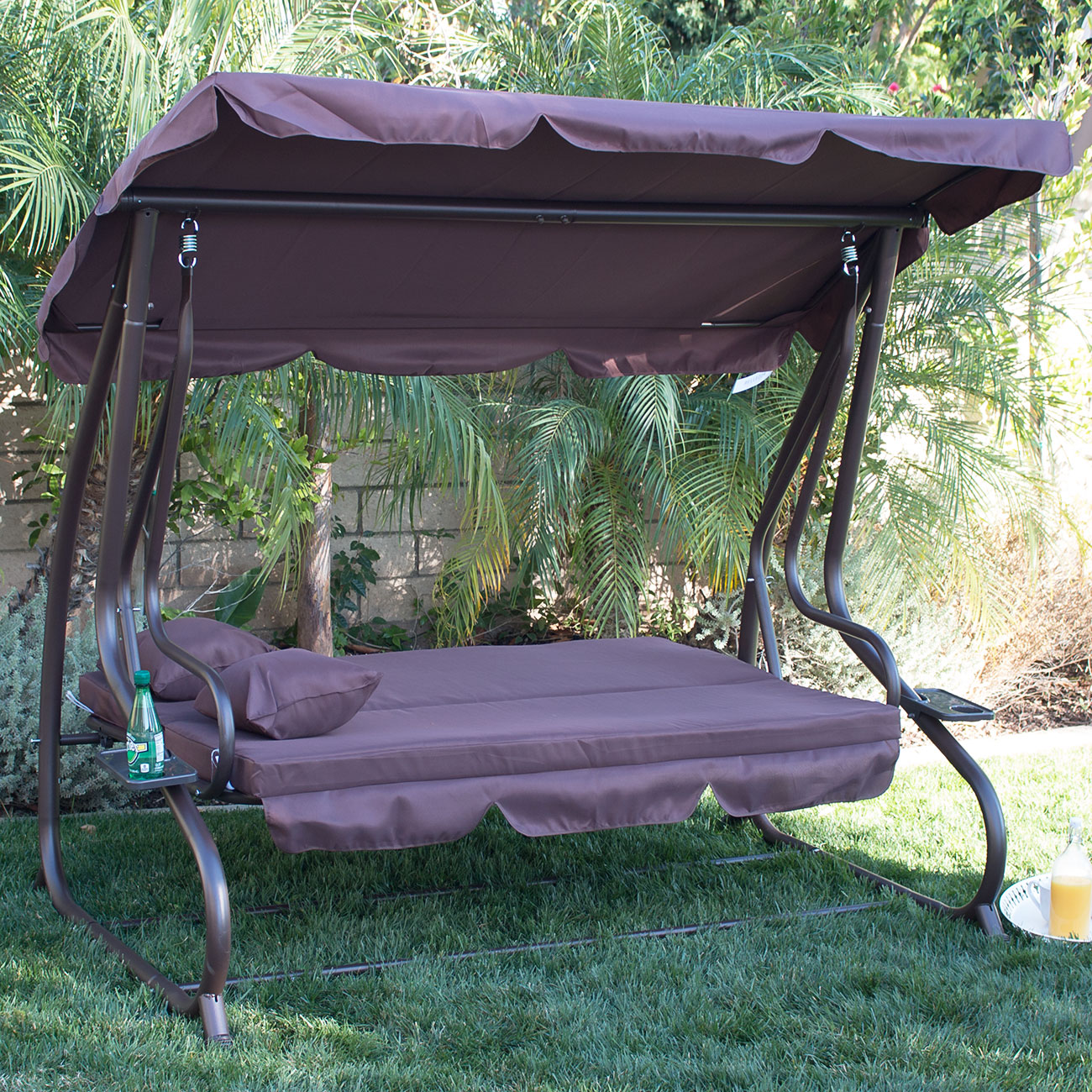 3 person outdoor swing w canopy seat patio hammock furniture bench yard loveseat ebay Yard bench