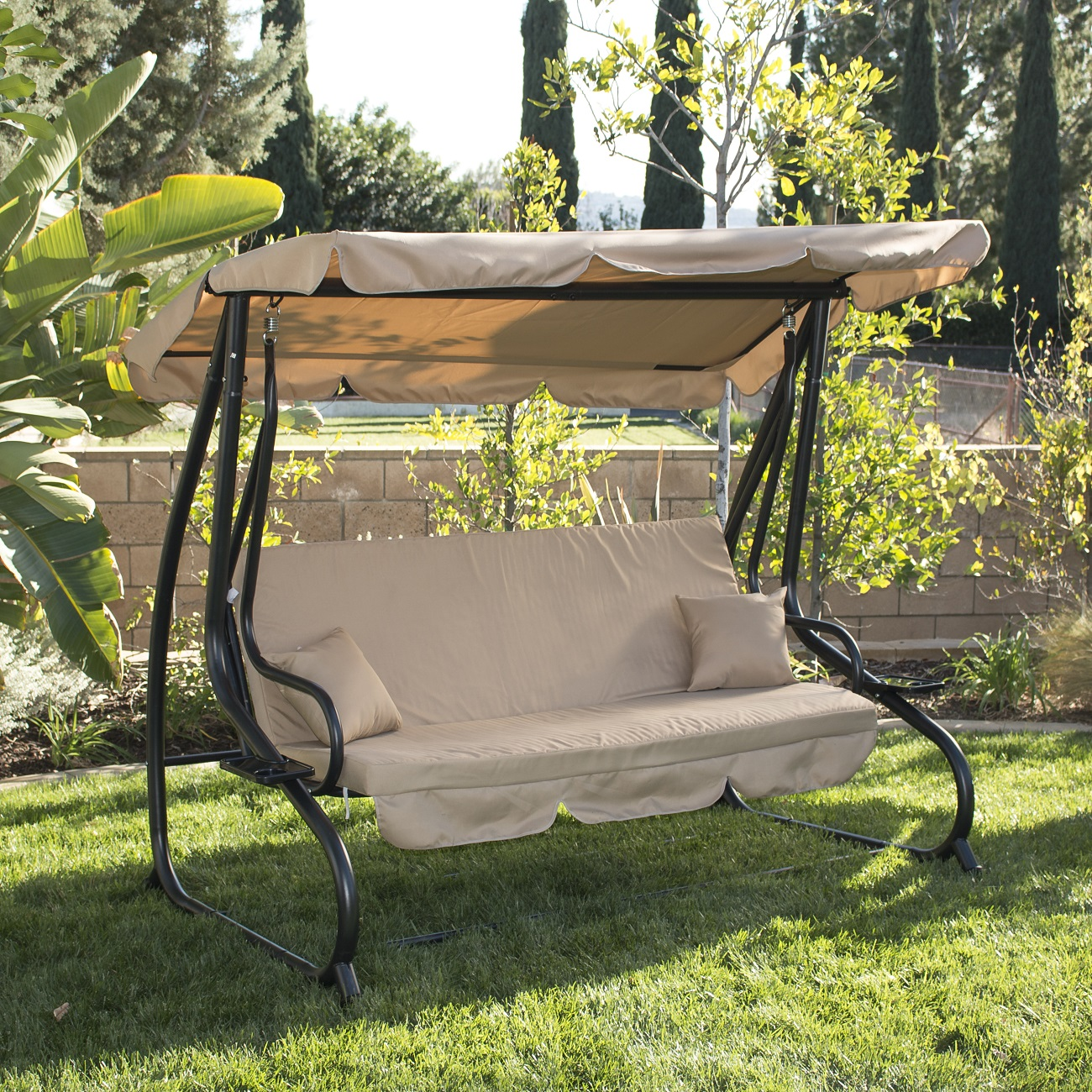 3 person outdoor swing w canopy seat patio hammock for Outdoor furniture 3 seater