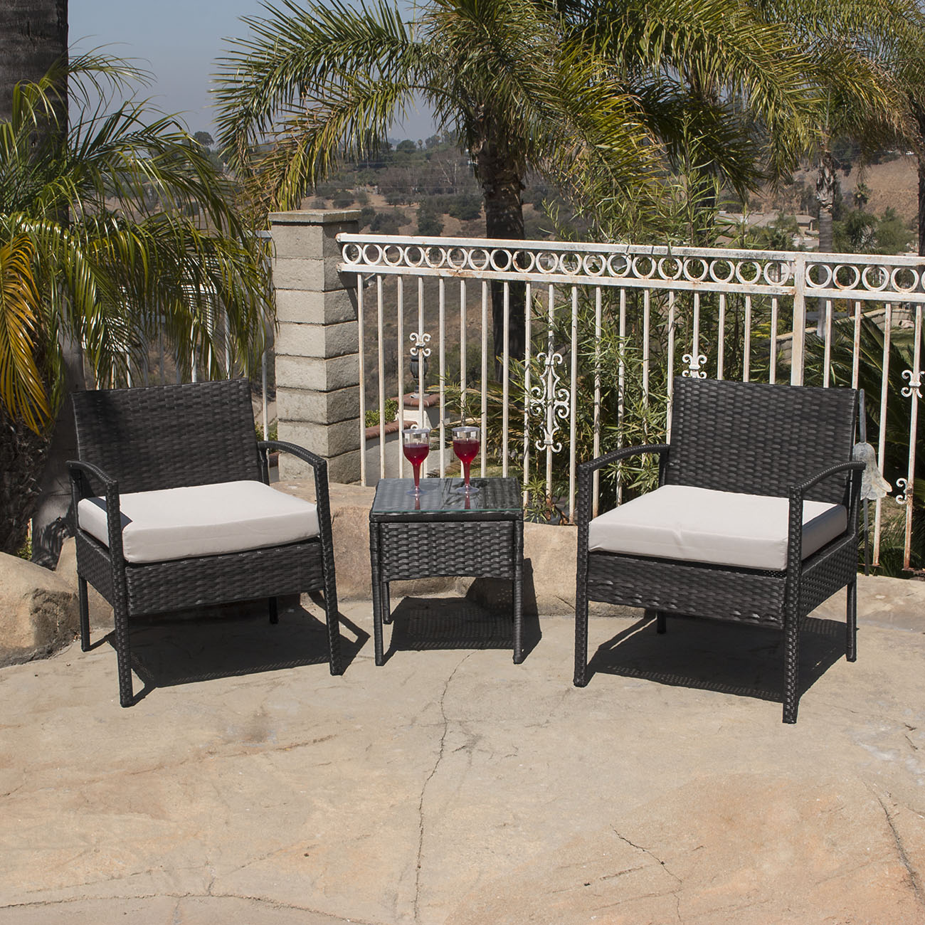 3pc Rattan Wicker Bistro Sofa Set Coffee Table Chair