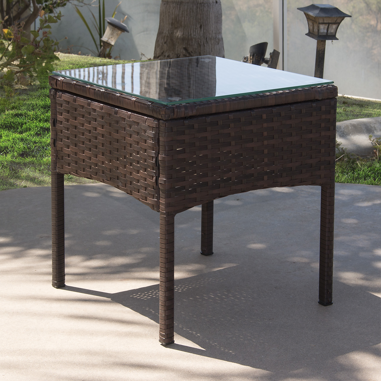 Brown Rattan Coffee Table Outdoor: 3pc Rattan Wicker Bistro Sofa Set Coffee Table Chair