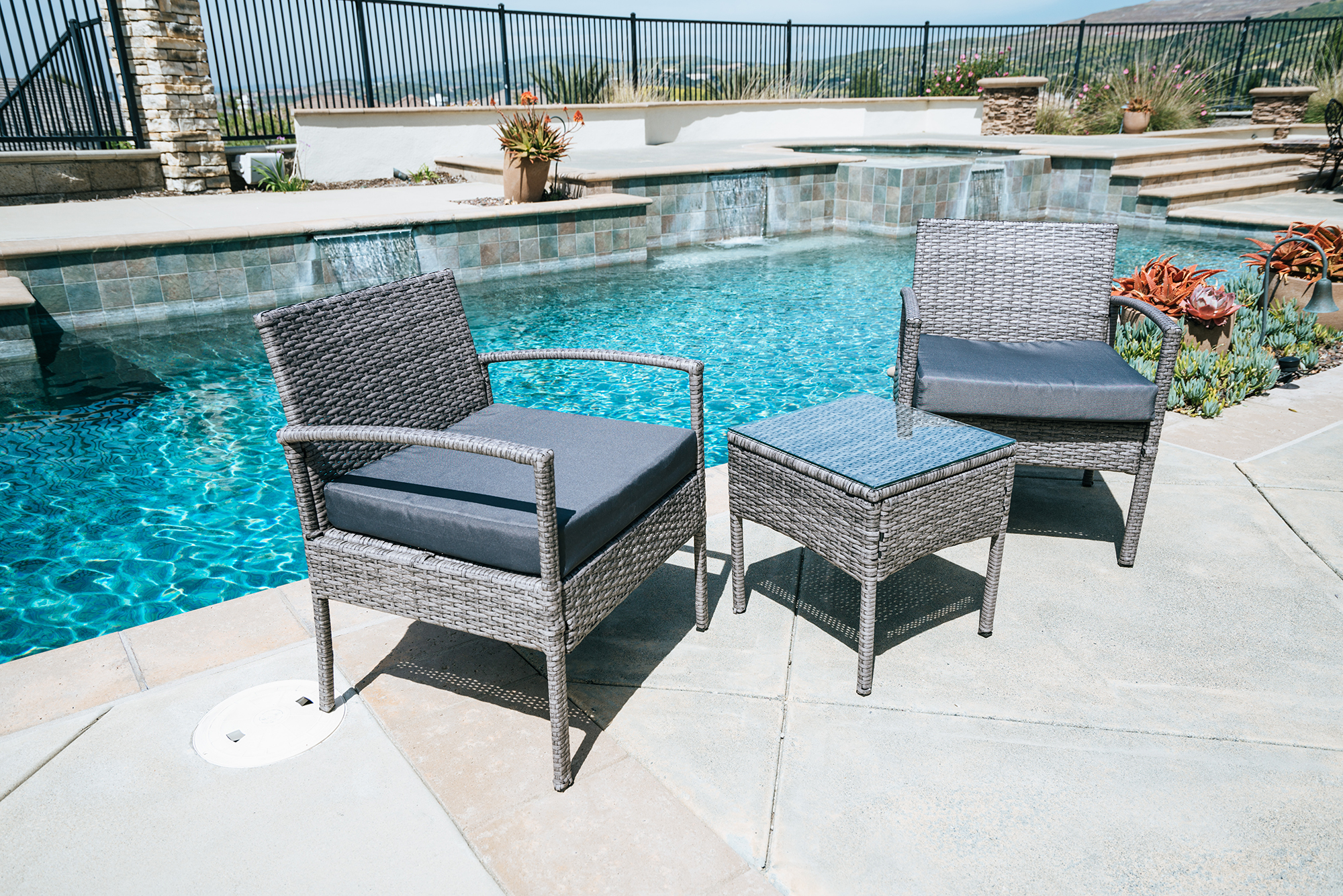 3pc Outdoor Rattan Wicker Furniture Table And Chair Patio Set, Gray