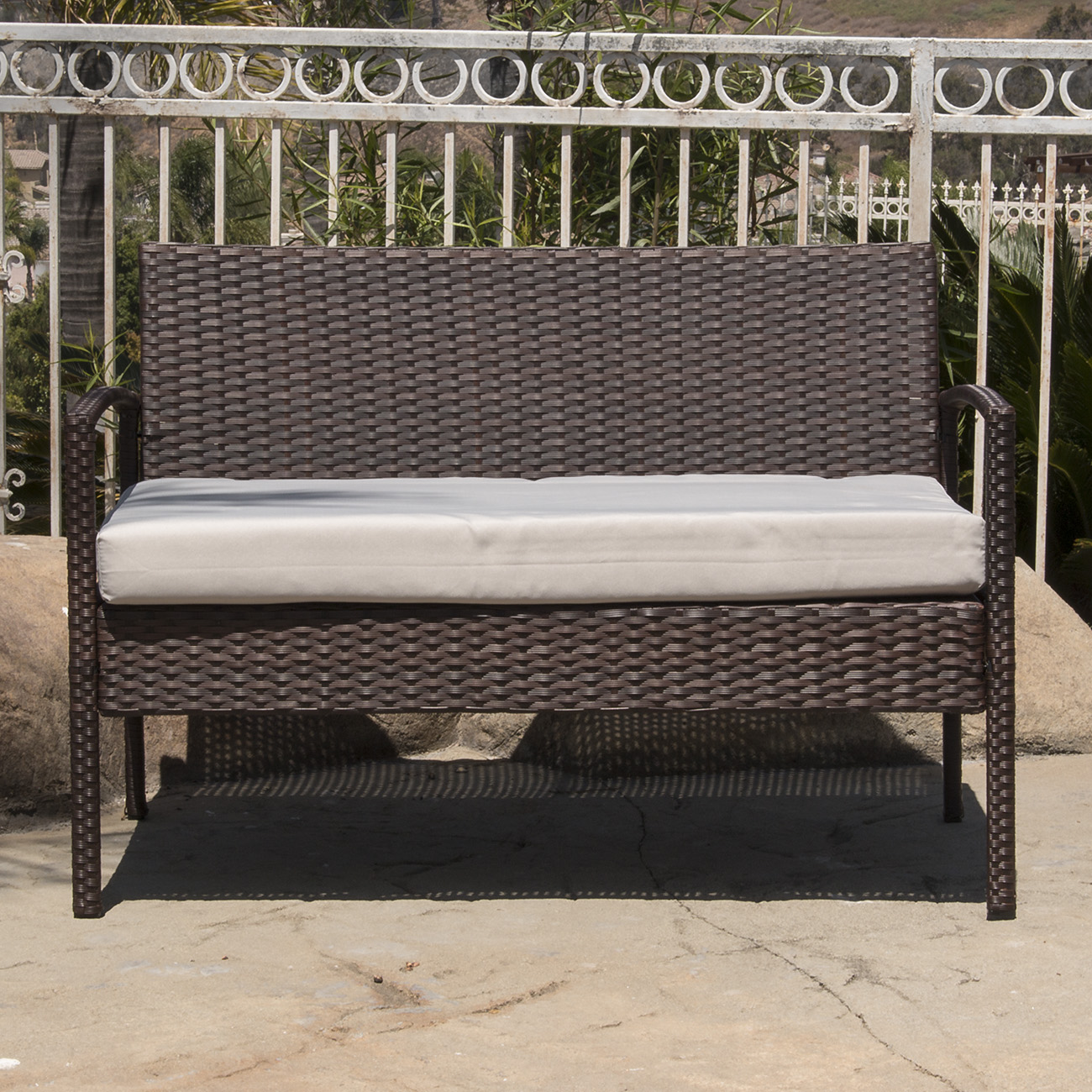 4PC Rattan Wicker Patio Furniture Set Sofa Chair Table Cushioned