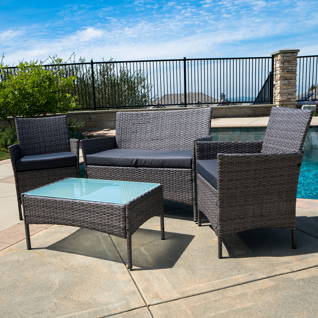 4pc patio furniture set pe wicker cushioned outdoor rattan for Lawn and garden furniture