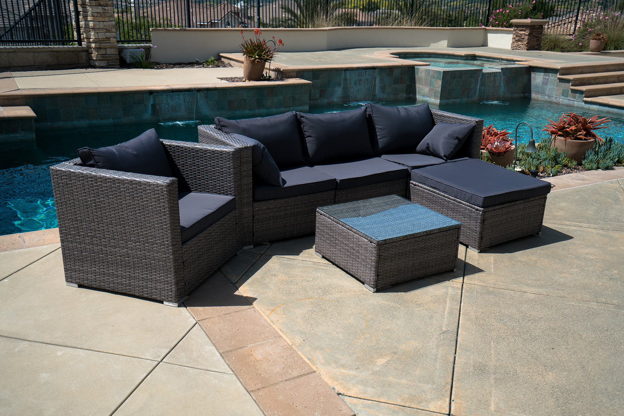 6pc outdoor patio furniture rattan wicker sectional sofa chair couch brown gray. Black Bedroom Furniture Sets. Home Design Ideas